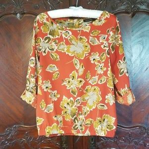The Limited rust orange floral top sz S flowers